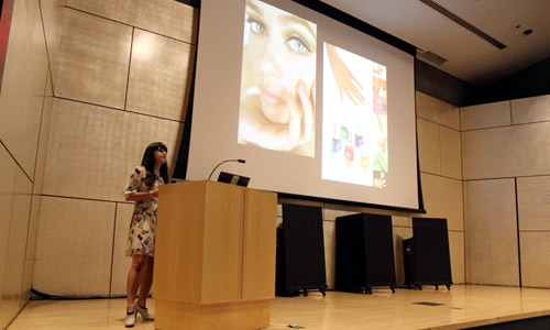 "Suzanne Shapiro explains the relationship between nail enamel and femininity throughout time at the Arizona Costume Institute's first lecture of the season held at the Phoenix Art Museum on Wednesday night. Shapiro is the author of ""Nails: The Story of the Modern Manicure"" which was released in April. (Carolyn Corcoran/DD)"