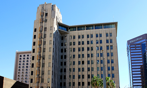 the previously empty professional building in downtown phoenix is being renovated into a hilton garden inn hotel which is set to open within the next few - Hilton Garden Inn Phoenix Downtown