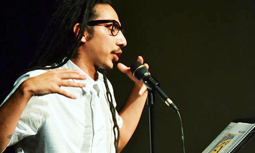 Poet Joel Salcido performs at the first RISE! event last year. (Courtesy of Deborah Berman-Montaño)