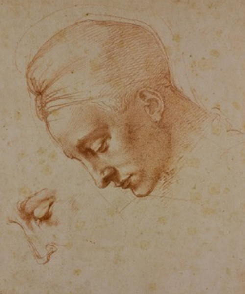 Michelangelo, Study for the Head of Leda in Leda and the Swan, ca. 1529-1530. Red pencil. Florence, Casa Buonarroti. (Courtesy of Phoenix Art Museum)