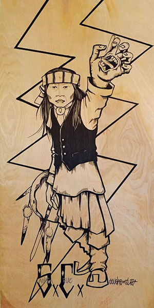 """""""Expression Frustration"""" by Douglas Miles was done on a 24"""" X 48"""" piece of pinewood. It is an expression of the difficulties that Native American people face trying to find their voice. (Courtesy of Douglas Miles)"""