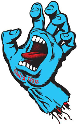 The original Screaming Hand Logo was inspired by the image of a drowning surfer's clenched hand sticking out of the water. (Courtesy of Jim Philips)