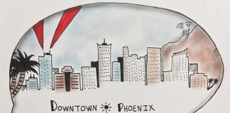 speech bubble around Phoenix skyline
