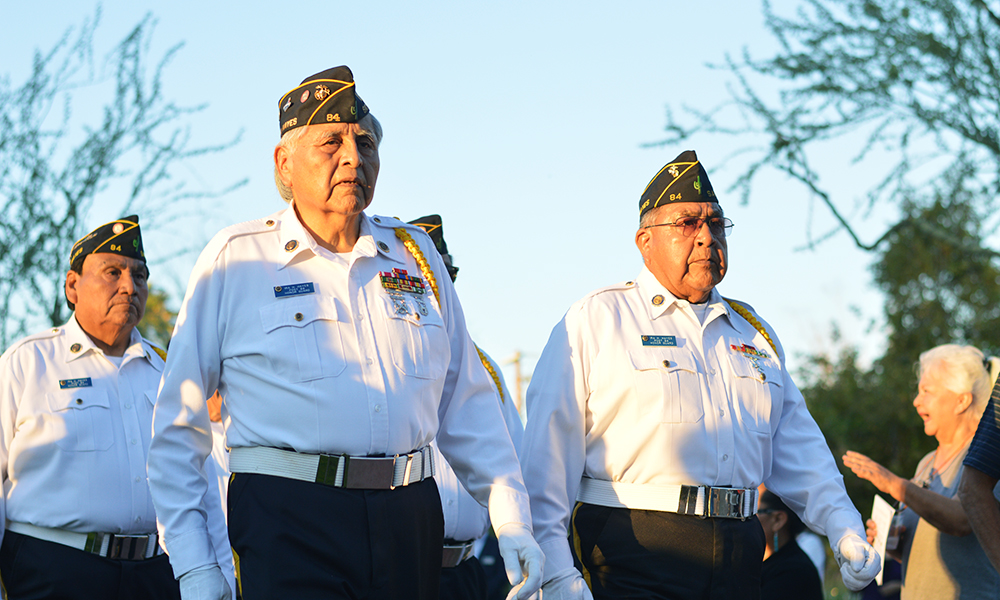 Veterans of the Ira H. Hayes American Legion Post 84 raised the American, Arizona and POW/MIA flags at the beginning of the Sunset Tribute ceremony. (Katelyn Finnegan/DD)