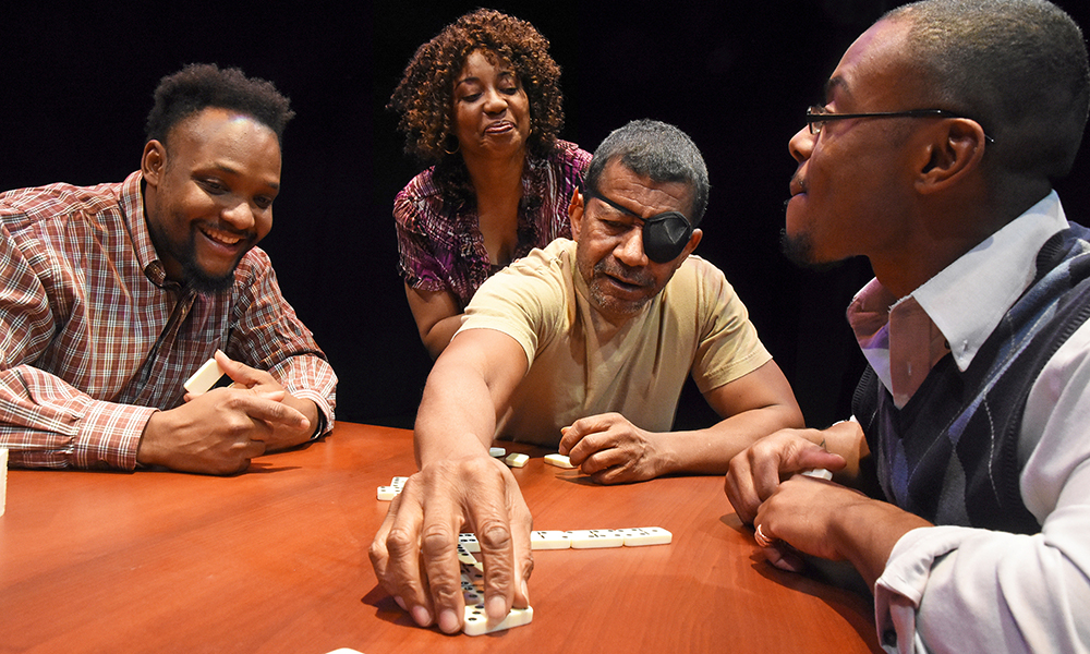 "Rafael Hamilton, Jones, Traylor and Dozier comprise the cast of ""Broke-ology,"" which runs through Feb. 26 at The Black Theatre Troupe. (Courtesy of Laura Durant)"