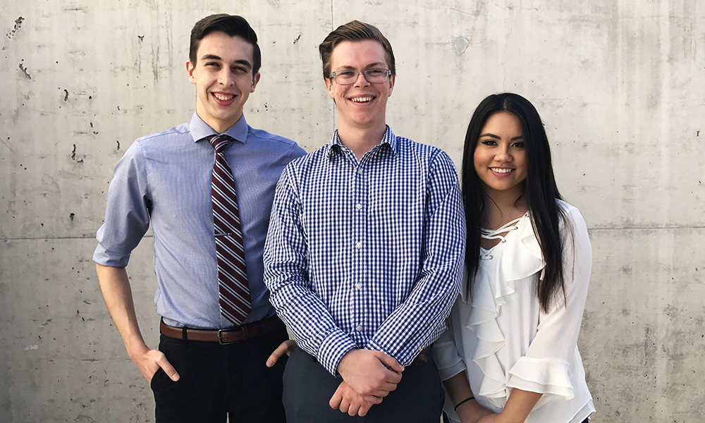 The executive ticket of Ryan Leith, Jackson Dangremond and Jade Nicole Yeban (left to right) are the only candidates running for executive office this year. (Courtesy of Jackson Dangremond)